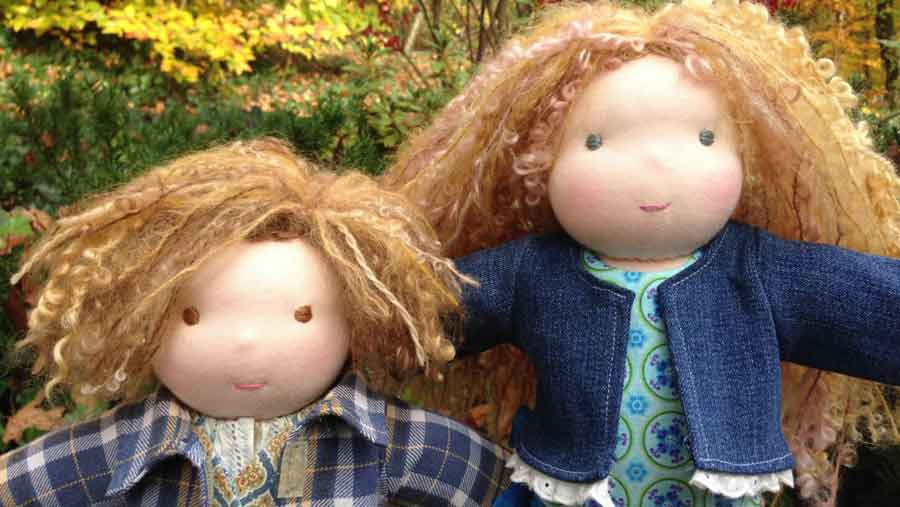 two beautiful handmade, organic-cotton, waldorf dolls made in Bucks County, PA